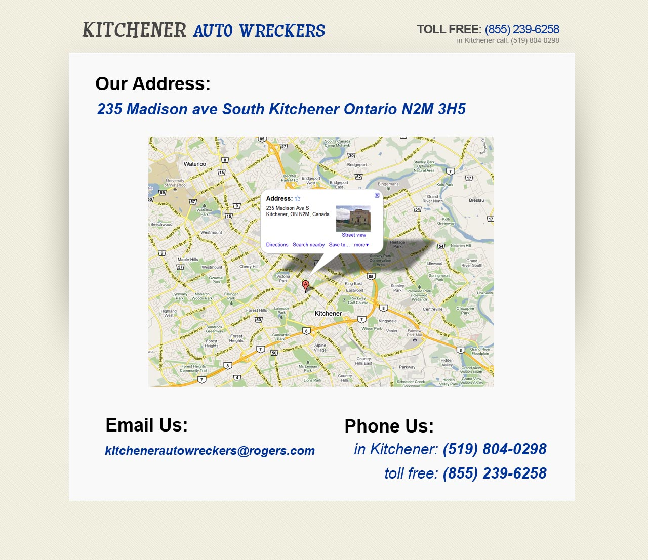 Kitchener Auto Wreckers - (855) 239-6258
